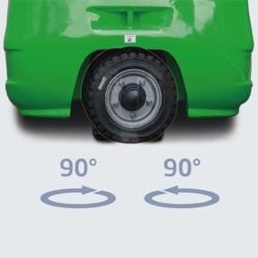 Tight turning radius thanks to 3-wheel design