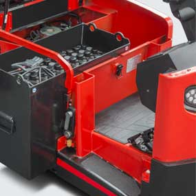 Battery side roll out is taken as the standard configuration in order to easily and fast replace the battery